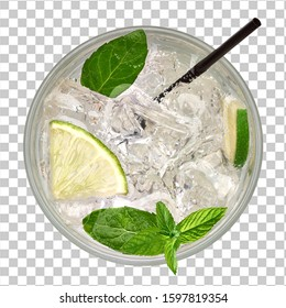 Caipirinha, Mojito cocktail from top, vodka or soda drink with lime, mint and straw isolated on checkered background including clipping path. From top view.