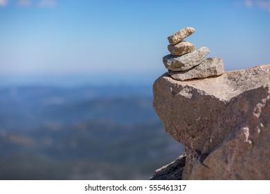 Cairn against soft background, Mount Evans, Colorado