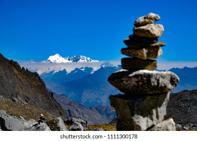 Cairn made of stones on the Salkantay path