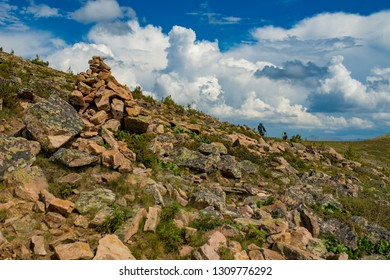 Cairn in mountains, Altai, Russia
