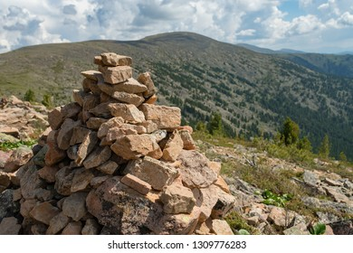 Cairn in mountains, Altai, Siberia, Russia