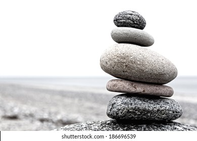 Cairn on a beach at the baltiv sea in Germany