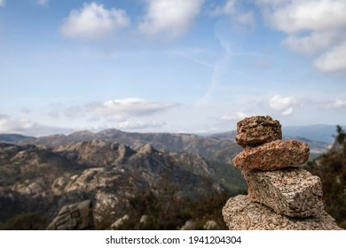 Cairn or stone marker in mountain trail in Peneda-Geres National Park