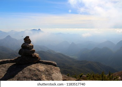Cairn used to signal the hiking trail in the mountainous countryside of Rio de Janeiro (Serra dos Orgaos) - Brazil
