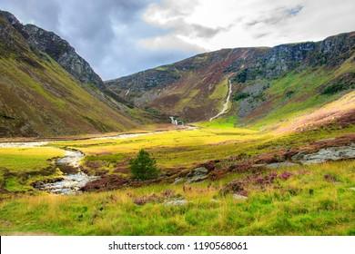 Cairngorm Mountains and Falls of Unich. Glen Lee, Angus, Aberdeenshire, Scotland, UK.