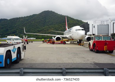 CAIRNS, AUSTRALIA -4 AUG 2017- The Cairns Airport (CNS) is located in Far North Queensland, Australia. It brings tourists to the Great Barrier Reef.