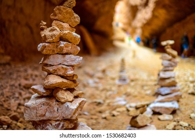 Cairns marking the trails in Bryce Canyon, Utah