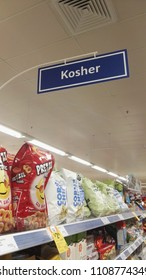 Cairns, Queensland, Australia, June 9th 2018, Kosher food section in supermarket aisle
