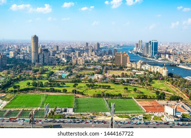 Cairo aerial View and Nile River in Egypt