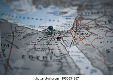 Cairo, the capital of Egypt pinned on geographical map