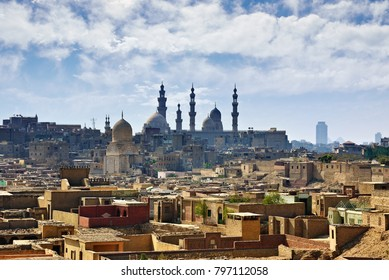 Cairo cityscape. Old city and the Mosque of Sultan Hassan.
