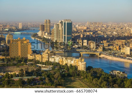 CAIRO - DECEMBER 26: View from top of Cairo Tower in the evening Dec. 26,2016 in Cairo, Egypt.
