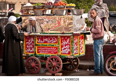 CAIRO - DECEMBER 5:  Food stall in Tahrir Square, Cairo during the anti government protest and demonstration, on 5 December 2011 in Cairo.