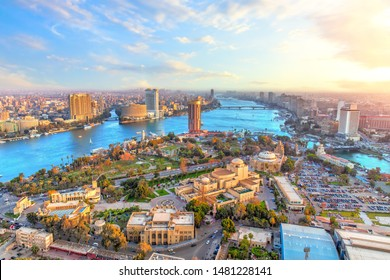 Cairo downtown and the Nile river, aerial view, Egypt