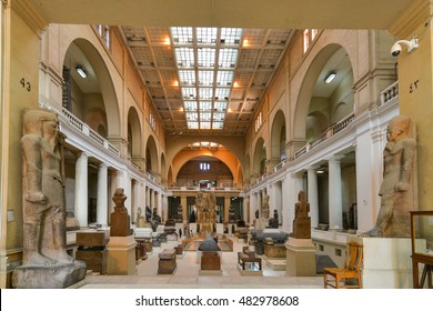 CAIRO, EGYPT - 02 JANUARY 2016 : Wide angle interior view of Egyptian Museum in Cairo.