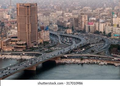CAIRO, EGYPT - 20 NOVEMBER 2011: View of 6 October Bridge in central Cairo.