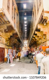 Cairo, Egypt - 2008 - Tentmaker's Alley which pronounced ( Share'a (Souq) Al Khayamiya ) is a street located immediately south of Bab Zuweila, and has been in continuous use since the Mamluk era.