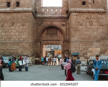 Cairo, Egypt - 2009 -The Conquest Gate in cairo known as ( Bab Al Futuh) is one of three remaining gates in the walls of the Old city of Cairo (Fatimid era )finished year 1087 north of Muizz Street.