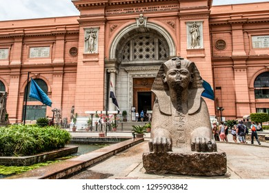 CAIRO, EGYPT 25.05.2019 Exterior of the Egyptian Museum Antiquities one of the most famous museums of the world