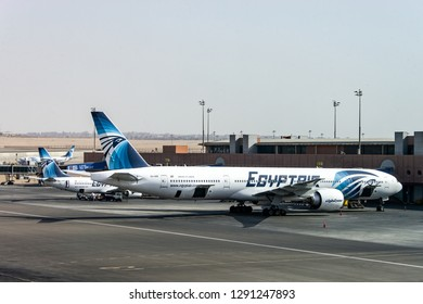 Cairo EGYPT 26.05.2018 - Egypt Air Airplane standing to parking position at the international airport of Kairo