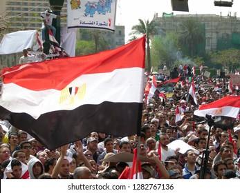 Cairo - Egypt - 4 February 2011 - Egyptian revolution - Egyptian flags in Tahrir Square