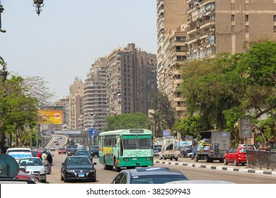 Cairo, EGYPT - Apr 22, 2015, Main Street with active traffic on Apr 22 2015 in Cairo, EGYPT