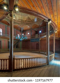 Cairo, Egypt - April 1 2018: Whirling Dervishes Ceremony hall at the Mevlevi Tekke, a meeting hall for the Sufi order and Whirling Dervishes