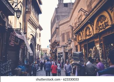 cairo, egypt, april 15, 2017: people walking in muizz street