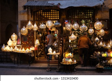 Cairo / Egypt - April 17 2015: An ornamental traditional brass lamp shop in Khan Al-Khalili district of Cairo. Khan Al Khalili one of the most original and tourist magnet area in the city.