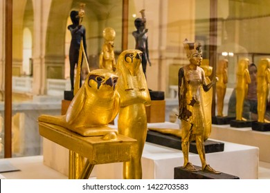 Cairo, Egypt - April 19, 2019: Ancient artifacts in the Egyptian museum, Cairo