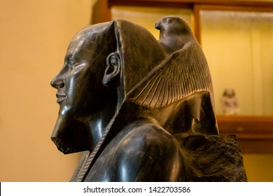 Cairo, Egypt - April 19, 2019: Ancient statue of Horus in the Egyptian museum, Cairo