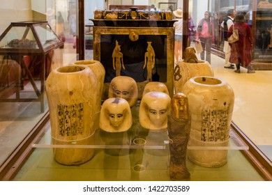 Cairo, Egypt - April 19, 2019: The artifacts in the Egyptian Museum in Cairo