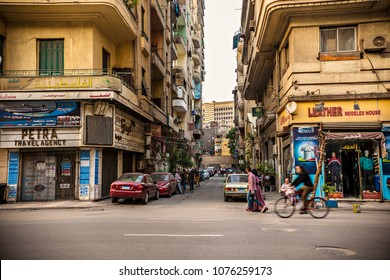 CAIRO, EGYPT - April 2018: Cairo downtown with business buildings and transportation, Cairo, Egypt