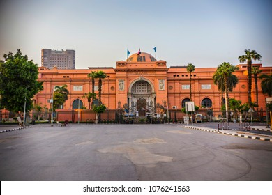 Cairo, Egypt - April 2018: Egyptian Museum or Museum of Cairo building in Cairo downtown, Egypt