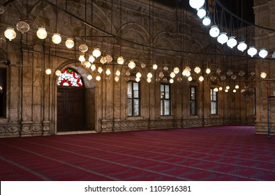 CAIRO, EGYPT, APRIL 21: Elegant interior with hanging lights of Mohamed Ali Alabaster Mosque in Citadel of Cairo, Egypt on April 21, 2018