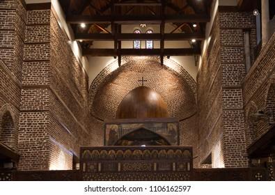 CAIRO, EGYPT, APRIL 21: Elegant intricate designs inside Abu Serga Church in Coptic Cairo, Egypt on April 21, 2018
