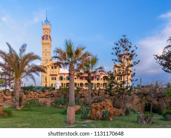 Cairo, Egypt - April 28 2018: Ancient Royal palace at Montaza public park before sunset, Alexandria, Egypt