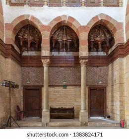 Cairo, Egypt- August 11 2018: Side wall at the main hall of Beshtak Palace (Qasr Bashtak), a Mamluk era ancient historic palace, located in an area called Bayn al-Qasrayn (between the two palaces)