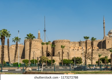 Cairo, Egypt, August 14th, 2018: Saladin Citadel of Cairo a UNESCO as a part of the World Heritage Site Historic Cairo, view from Salah El-Deen square