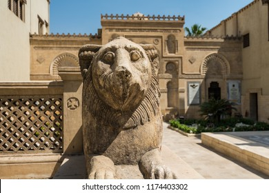 Cairo, Egypt, August 15th, 2018: Lion statue in front of Coptic Museum in Cairo, Egypt with the largest collection of Egyptian Christian artifacts in the world. Founded by Marcus Simaika in 1908.