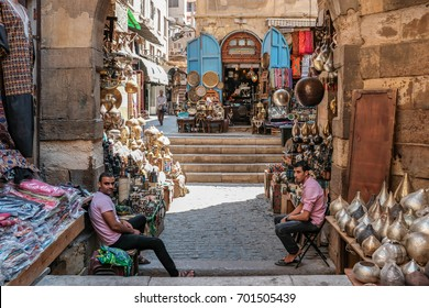 CAIRO, EGYPT - August 18, 2017: Historical Khan El-Khalili Souq marketplace is one of the tourist magnets in Capital City Cairo, Egypt.