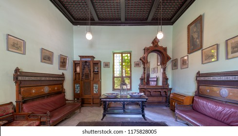 Cairo, Egypt - August 26 2018: Historical Manial Palace of Prince Mohammed Ali. Ceremonies Room with vintage furniture