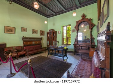 Cairo, Egypt - August 26 2018: Historical Manial Palace of Prince Mohammed Ali. Ceremonies Room with vintage furniture - Open for public visits