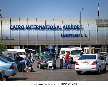Cairo, EGYPT - August 28, 2014:  International Airport, Terminal 1. Passengers with luggage