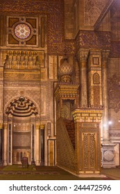 CAIRO, EGYPT - DEC 5, 2014: Interior of Mosque of Al Rifaii, one of the mosques near the Citadel of Cairo.