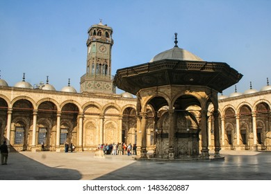 Cairo, Egypt; December 11th 2007: Courtyard (sahn) and clock tower of Mosque of Muhammad Ali in the Citadel of Cairo (or Citadel of Salah ad-Din). UNESCO World Heritage Site since 1976