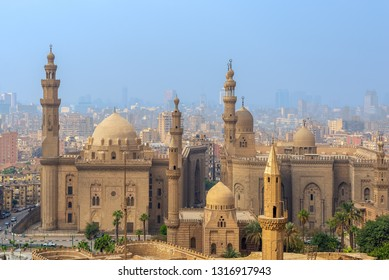 Cairo, Egypt - December 2 2018: Aerial view of Cairo city from Salah Al Deen Citadel (Cairo Citadel) with Al Sultan Hassan and Al Rifai Mosques, Cairo, Egypt