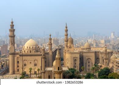 Cairo, Egypt- December 2 2018: Aerial view of Cairo city from Salah Al Deen Citadel (Cairo Citadel) with Al Sultan Hassan and Al Rifai Mosques