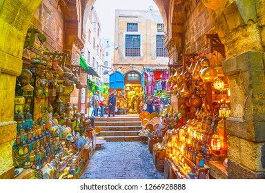 CAIRO, EGYPT - DECEMBER 20, 2017: The popular lighting store with glowing arabian lanterns in tourist Khan El-Khalili market, on December 20 in Cairo.