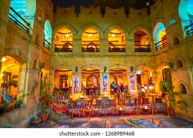 CAIRO, EGYPT - DECEMBER 20, 2017: The traditionally decorated restaurant in historical edifice in present Mu'izz Visitors Center, on December 20 in Cairo.
